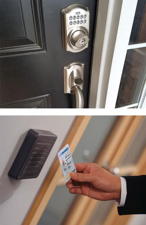 image of a Schlage keypad lock and matching handle on a residential door (top), and a key card being used with an access control system in an office building (bottom)