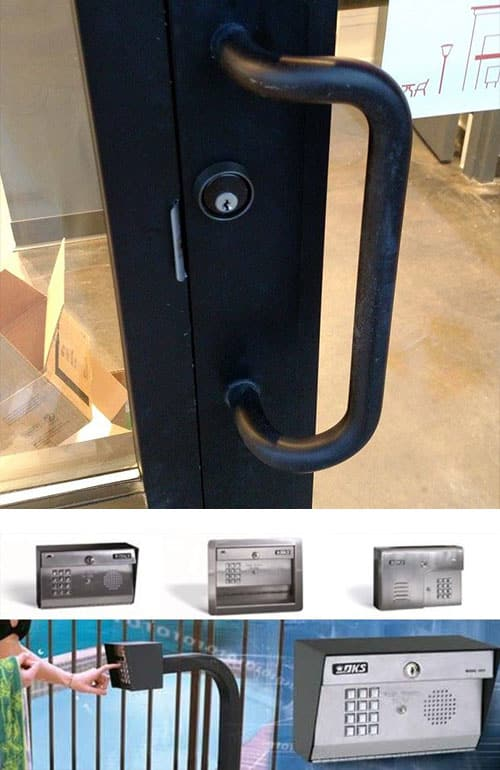 image of a commercial-grade deadbolt we installed (top), and a variety of door buzzers for commercial use (bottom)
