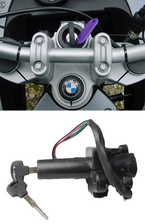 image of a BMW motorcycle with a new key in the ignition (top) and a motorcycle ignition (bottom)