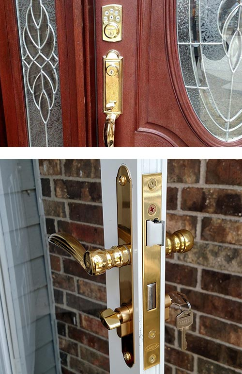 image of a keypad lock and matching door handle (top) and a mortise lock we installed on a French door (bottom).