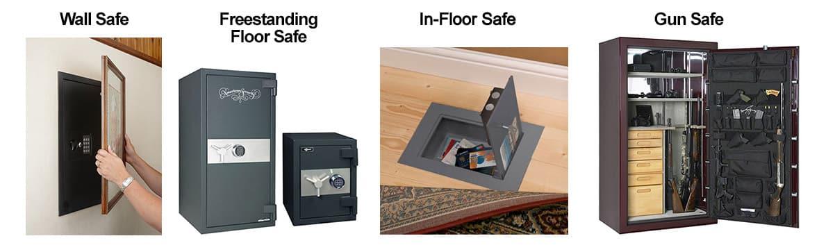 image of 4 types of safes: wall, freestanding floor, in-floor, and gun